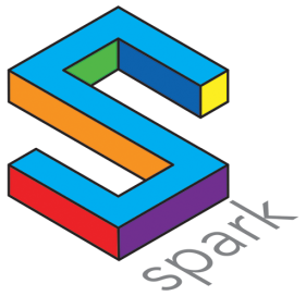"a multi color logo of a stylized ""S"" representing the Spark journal"