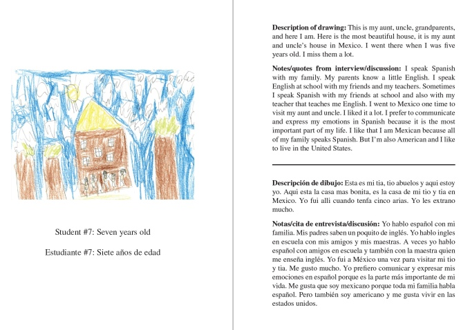 A screenshot from the We Are Your Neighbors Book depicting a student's drawing on the left and text from the page on the right in both Spanish and English.