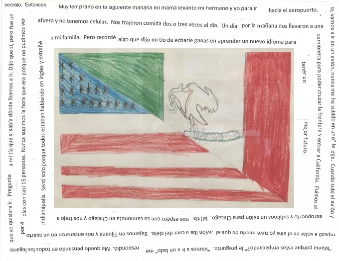 A screenshot from the We Are Your Neighbors Book that depicts an image of a split American and Mexican flag, hand drawn, with lines from a story surrounding it.